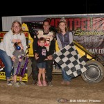 Shane Hollingsworth celebrates in Victory Lane at the Montpelier Motor Speedway. (Bill Miller Photo)