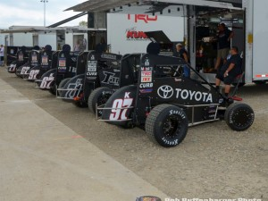 The Keith Kunz stable of cars during the 4-Crown Nationals at Eldora Speedway. (Bill Miller Photo)