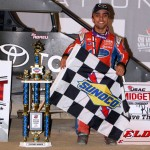 Rico Abreu following his USAC National Midget Car Series feature victory Saturday night during the 4-Crown Nationals at Eldora Speedway. (Bill Miller Photo)