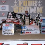 Justin Grant in victory lane after winning the USAC Amsoil National Sprint Car Series feature during the 4-Crown Nationals at Eldora Speedway. (Bill Miller Photo)