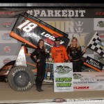 Ian Madsen in victory lane following his victory with the Arctic Cat All Star Circuit of Champions at Eldora Speedway during the 4-Crown Nationals. (Bill Miller Photo)