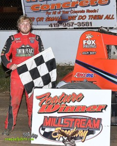Tyler Courtney won the BOSS Sprint Car Series feature Sunday night at Millstream Speedway. (Mike Campbell Photo)