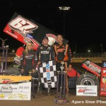 (l to r) Third place Jessica Friesen, Parker Price-Miller, and runner up Steve Poirier in victory lane (Apex One PHoto)