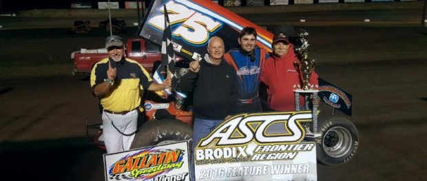 D.J. Brink with his team in victory lane Friday night after his ASCS Frontier Region victory at Gallatin Speedway. (ASCS Photo)