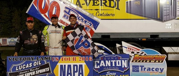 Danny Varin wins first ever ESS A-Main at the Brewerton Speedway over Sam Reakes IV and Mark Smith. (Image courtesy of ESS)