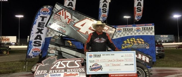 Johnny Herrera in victory lane after winning the ASCS Red River Region feature at  the Dirt Track at Texas Motor Speedway. (ASCS / TMS Staff Photo)