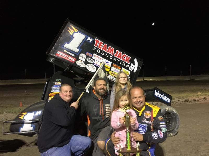Danny Lasoski with this team in victory lane Friday night at Billings Motorsports Park. (Image courtesy of ILP)