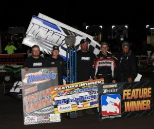 Kerry Madsen in victory lane with the Matt Wood Racing team following their victory at the Jackson Nationals. (Image courtesy of ILP)