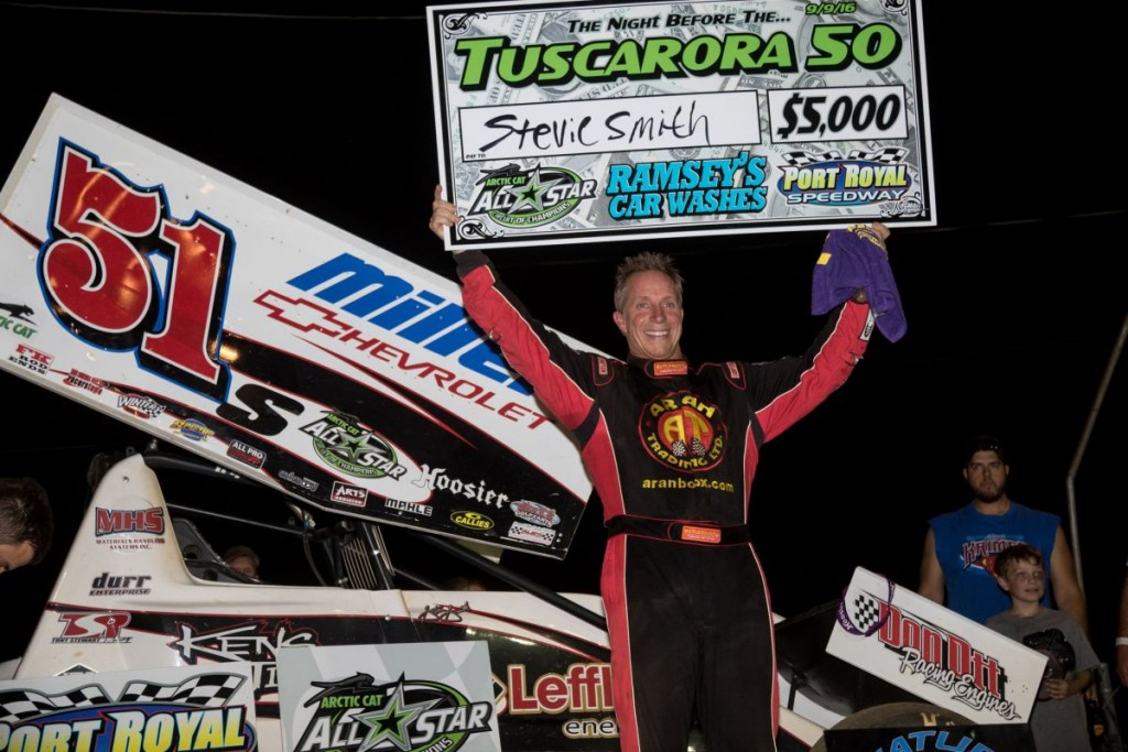 Stevie Smith celebrating his $5,000 payday during Night Before The Tuscarora 50. (Vince Vellella Photo)