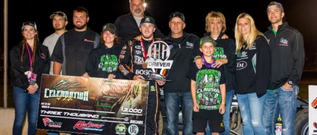 "The Clauson family joins race winner Kevin Thomas, Jr. in victory lane after his win in Friday night's ""Bryan Clauson Celebration of Life"" at Kokomo (Ind.) Speedway. (Ryan Sellers Photo)"