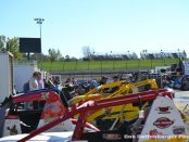 Full pit area of Buckeye Outlaw Sprint Series cars for the Spritnacular at Eldora Speedway. (Bob Buffenbarger Photo)