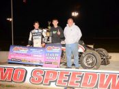 Justin Grant and crew in Victory Lane at the Kokomo Speedway on Friday night. (Bill Miller Photo)