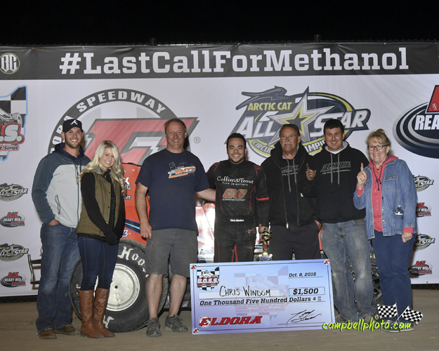 Chris Windom with the Baldwin Brothers race team in victory lane at Eldora Speedway. (Mike Campbell Photo)