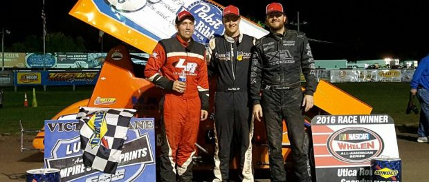 (l to r) Danny Varin, winner Lucas Wolfe, and Jason Barney. (Image courtesy of ESS)