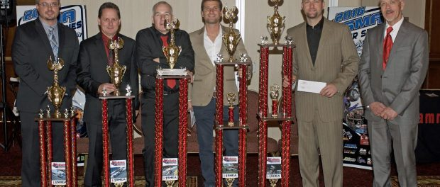 The top five drivers in Oswego Speedway's Shea Concrete Steel Palace ISMA Super Series were honored at the annual ISMA Supermodified championship banquet at Turning Stone Resort Casino on Saturday.  Pictured from left to right are Oswego PR Director Dan Kapuscinski, Tim Jedrzejek, Mark Sammut, Mike Lichty, champion Dave Shullick Jr., and Shea Concrete representative Mark Burns. (Jim Feeney)