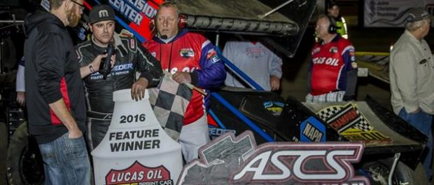 Sam talks with Bryan Hulbert after winning night #1 at Creek County (Brad Harris/ASCS Photo)