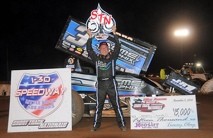 #5 - Sammy Swindell after winning a preliminary feature and Saturday's fianle of the Short Track Nationals at I-30 Speedway.. (TWC Photo)