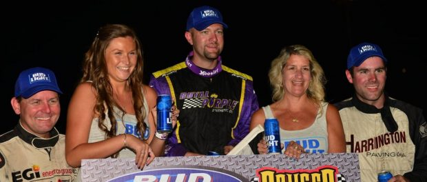 ISMA champion Dave Shullick Jr. (center) will compete full-time at Oswego Speedway in 2017 driving for John Nicotra Racing in search of his first non-wing victory and a Speedway track championship. (Bill Taylor Photo)