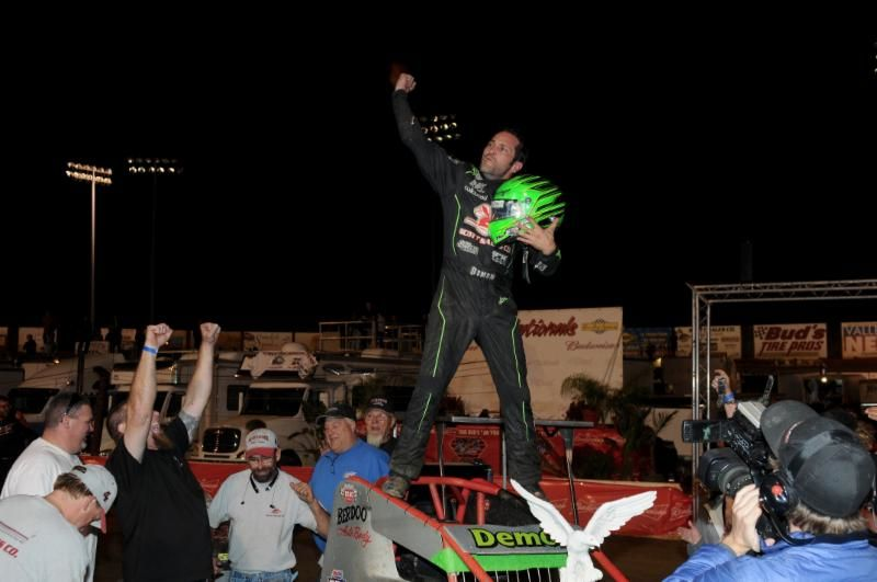 "Damion Gardner celebrates in victory lane after winning Saturday night's ""Oval Nationals"" at Perris - his 70th career USAC/CRA AMSOIL Sprint Car victory and his first USAC National Sprint victory since Port Royal (PA) Speedway in 2012. (Mike Grosswendt Photo)"