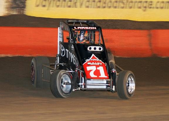 Kyle Larson on his way to the win in the 2012 Turkey Night Grand Prix at Perris Auto Speedway. (Doug Allen Photo)