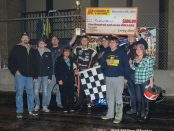 Brad Lamberson in Victory Lane with family and crew. (Bill Miller Photo)