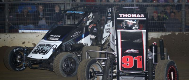 "Tyler Thomas (#91T) and Spencer Bayston battle for position in the 2015 ""Junior Knepper 55"" at the Southern Illinois Center in Du Quoin. (Neil Cananah Photo)"
