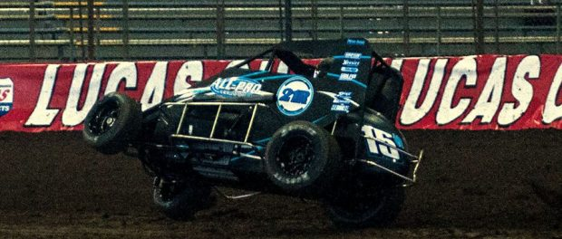 Sam was a little tight to start practice at the Chili Bowl (Hein Brothers Action Photo)