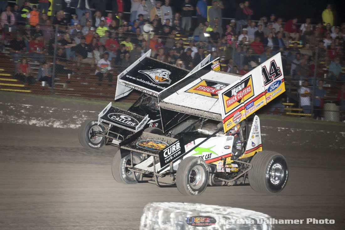 Tony Stewart (14) and Sheldon Haudenschild (93) (Serena Dalhamer photo)