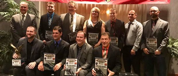 Track champion Dave Shullick Jr. and the top ten in the Novelis Supermodified point standings were honored Saturday evening at the Lake Ontario Event and Conference Center. (Dawn Gray photo)
