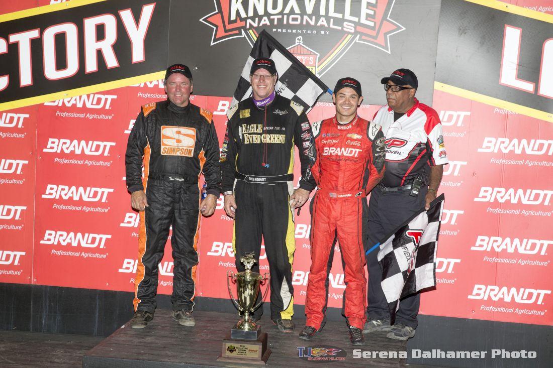 Tim Shaffer, Greg Hodnett, and Kyle Larson (Serena Dalhamer photo)