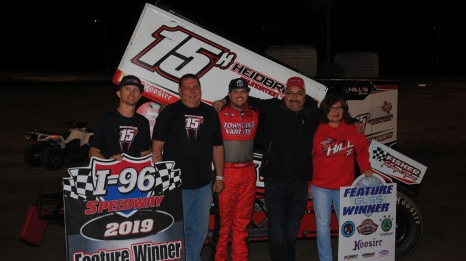 Sam Hafertepe Jr. with his team in victory lane at I-96 Speedway. (T.J. Buffenbarger photo)