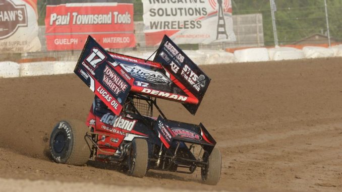 Ackland Insurance driver Mack DeMan races off turn two at Ohsweken during the 2018 season. DeMan won the 2018 Kool Kidz-Corr/Pak 360 Sprint Car rookie-of-the-year award. (Photo by Dale Calnan/Image Factor Media).