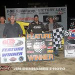 Matt Westfall with his crew in victory lane at I-96 Speedway. (Jim Denhamer photo)