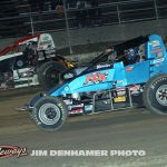 Dallas Hewitt (#18) racing with Steve Irwin Friday at I-96 Speedway. (Jim Denhamer Photo)